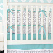 Caden Lane Aqua and Gray Mod Crib Set