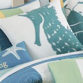 Waters Edge Rice Stitch Sea Horse Pillow