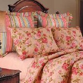 Claras Pink or Blue Rose Euro Sham