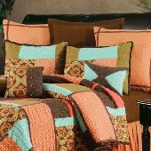 Sonnet and Poetry Burnt Orange Medallion Euro Sham