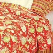 Coral Shells Quilted Throw Blanket