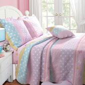 Greenland Home Fashions Polkadot Stripe Quilt Set