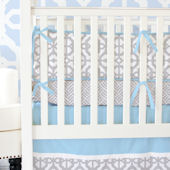 Caden Lane Grey and Blue Mod Crib Set