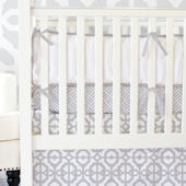 Caden Lane Grey and White LatticeCrib Set