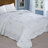 Blue Vine Embroidered Bed Spread