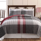 Black And Red Plaid Quilt Set