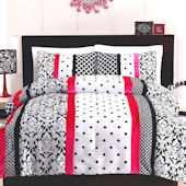 Cosmo Girl Black and Pink Dot Stripe Comforter