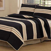 Rugby Striped Quilt Bedding Set