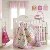 Laura Ashley Owplhabet Pink 4 Piece Crib Set