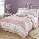 Tara Pink Ribbon Striped Quilt and Sham Set