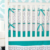 Caden Lane Teal and Gray Mod Crib Set